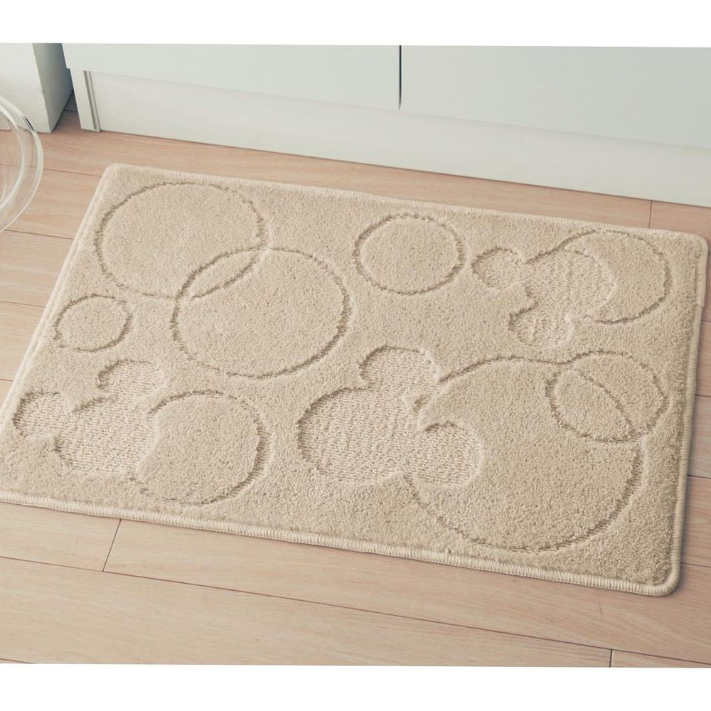 日本千趣會 - 日本製 迪士尼吸水速乾腳踏墊-米奇圈圈-杏