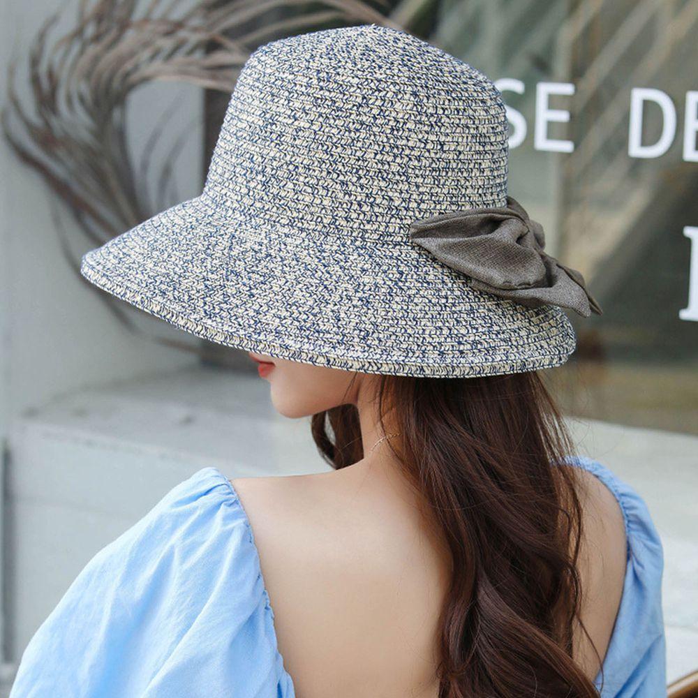 成人百搭漁夫蝴蝶結遮陽草帽-雙色藍色 (58-60cm)
