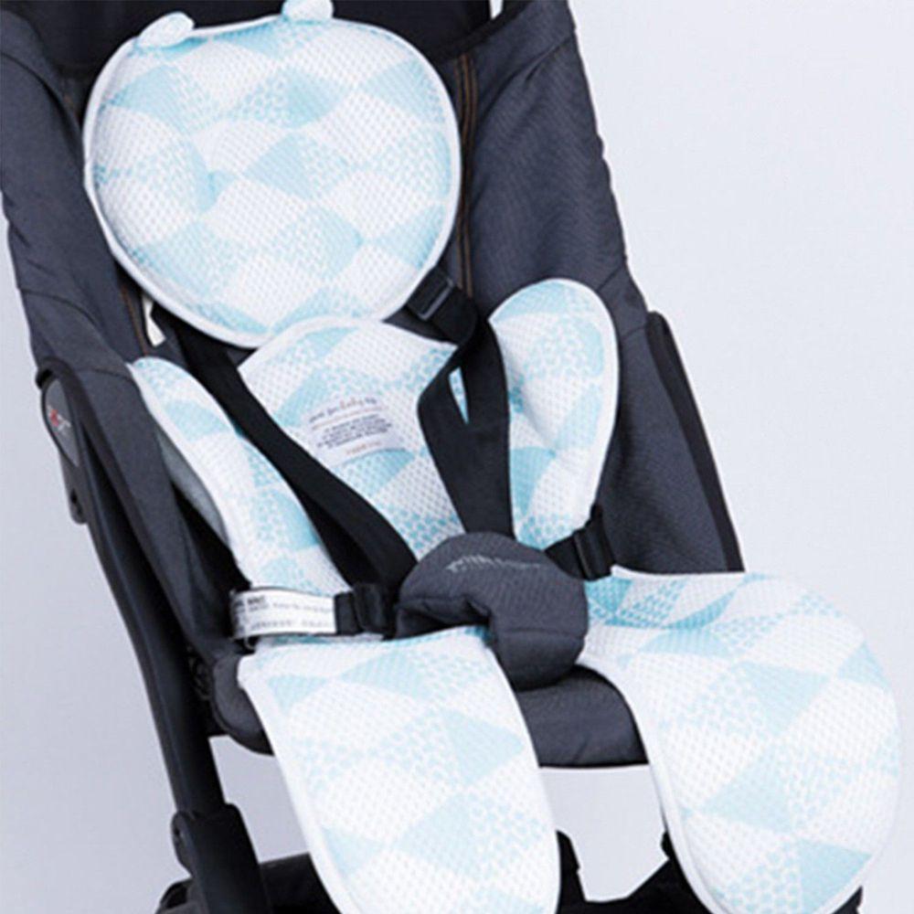 日本 YODO XIUI - 3D 透氣網眼推車/汽座專用雙層坐墊-藍色