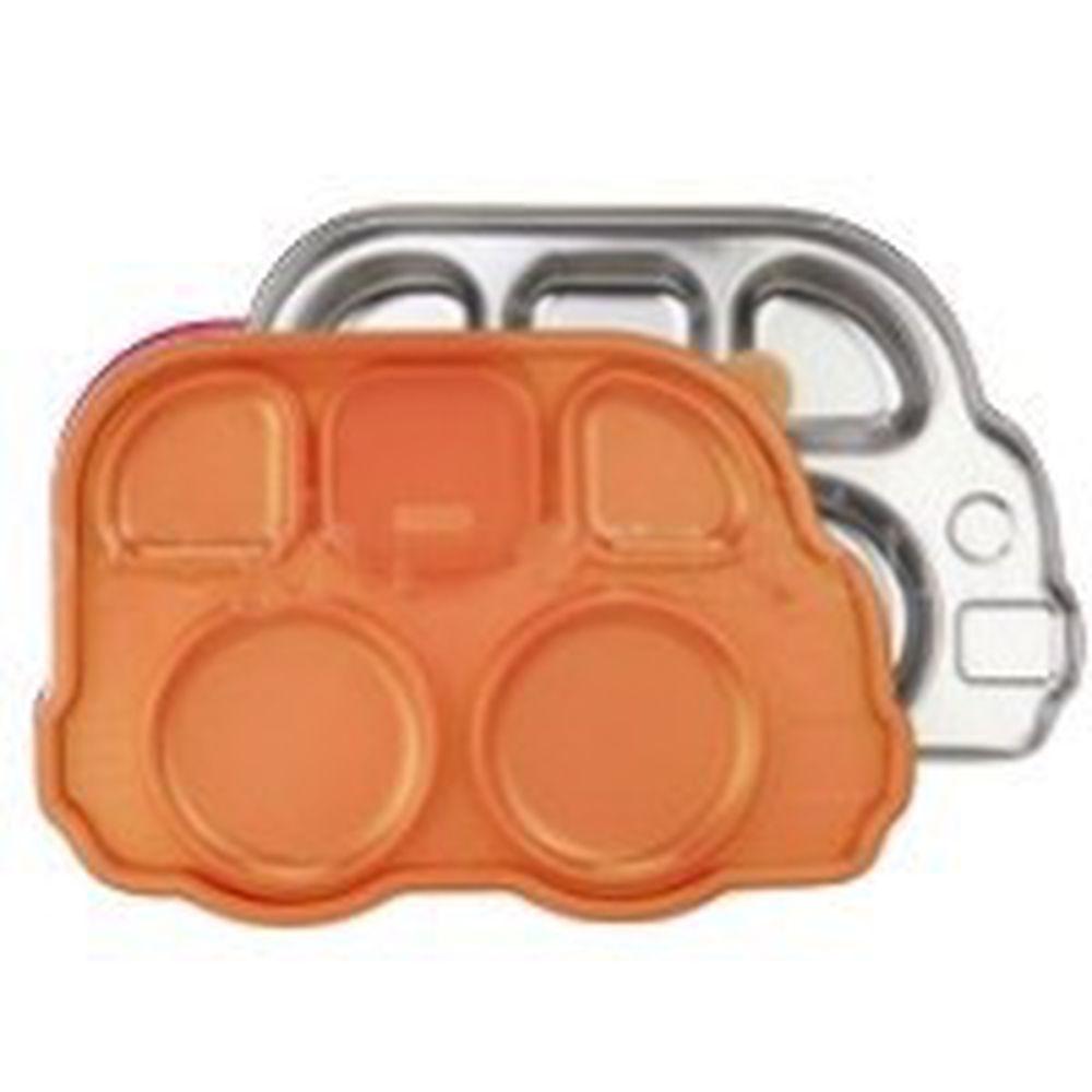 美國Innobaby - 不銹鋼兒童餐具 巴士餐盤-橘色