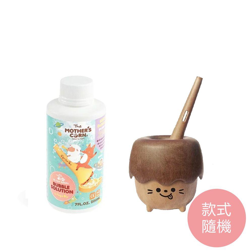韓國 Mother's Corn - 小木森林兒童泡泡玩具(款式隨機)+兒童專用超多泡泡補充罐(200ml)