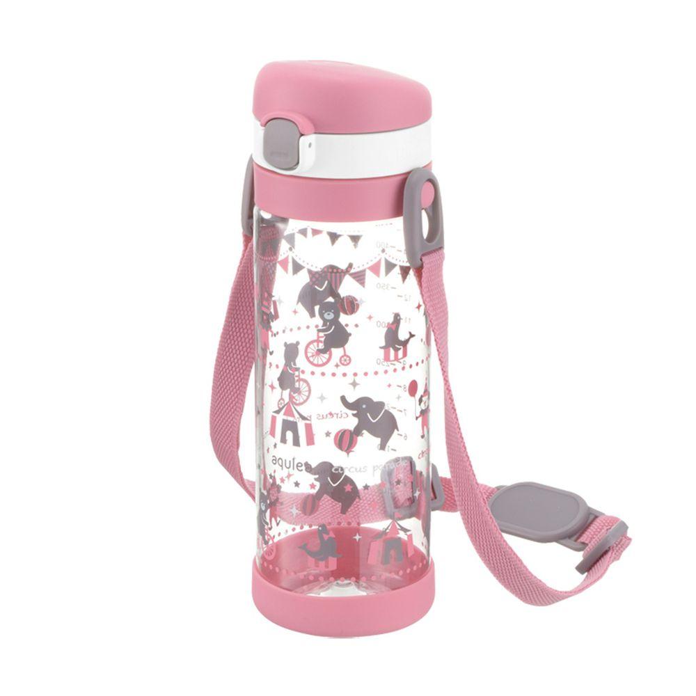 日本 Richell 利其爾 - 粉紅派對直飲冷水壺450ml-動物馬戲團圖案-粉