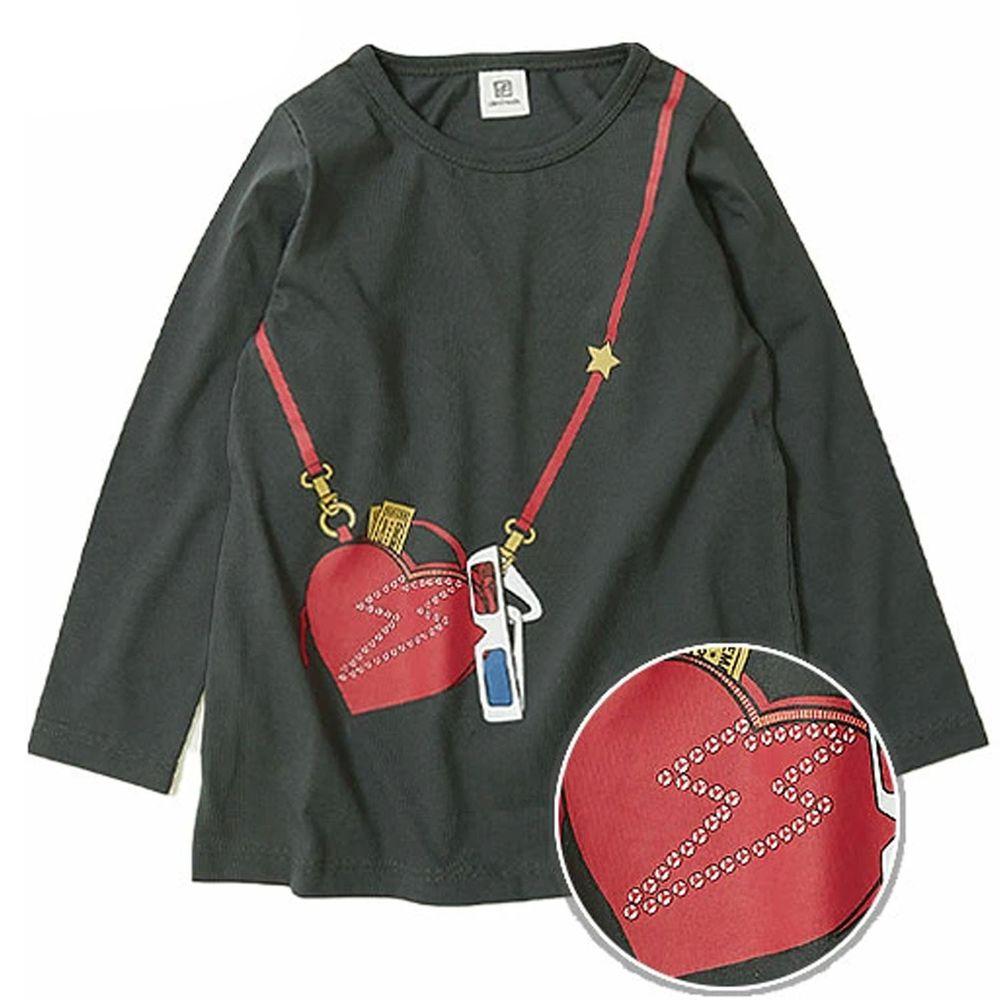 日本 devirock - 純棉 定番百搭印花長T-閃電側背包-黑