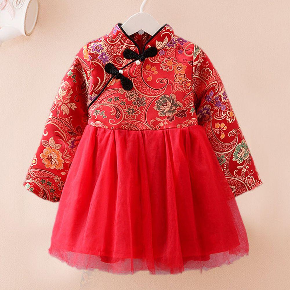 錦繡牡丹旗袍紗裙-加絨