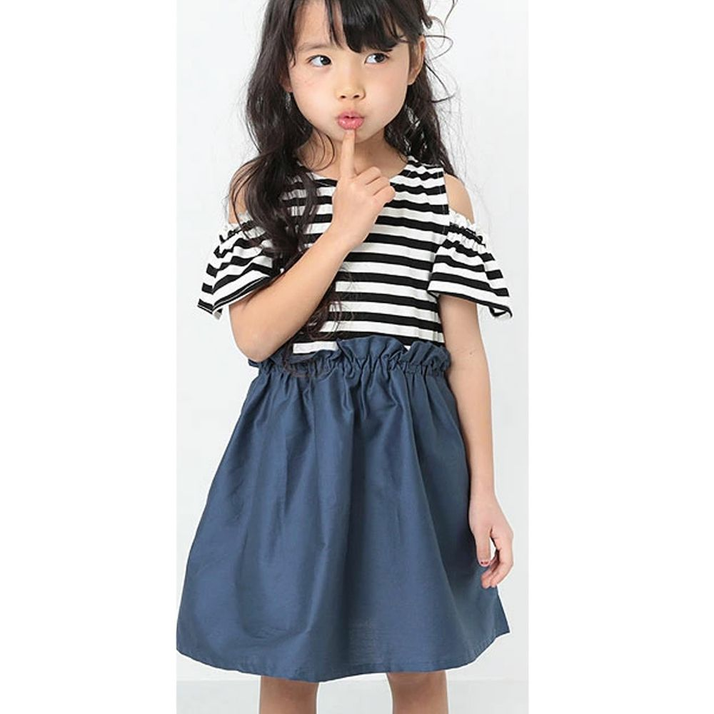 日本 devirock - 挖肩荷葉短袖拼接洋裝-黑白條紋X深藍
