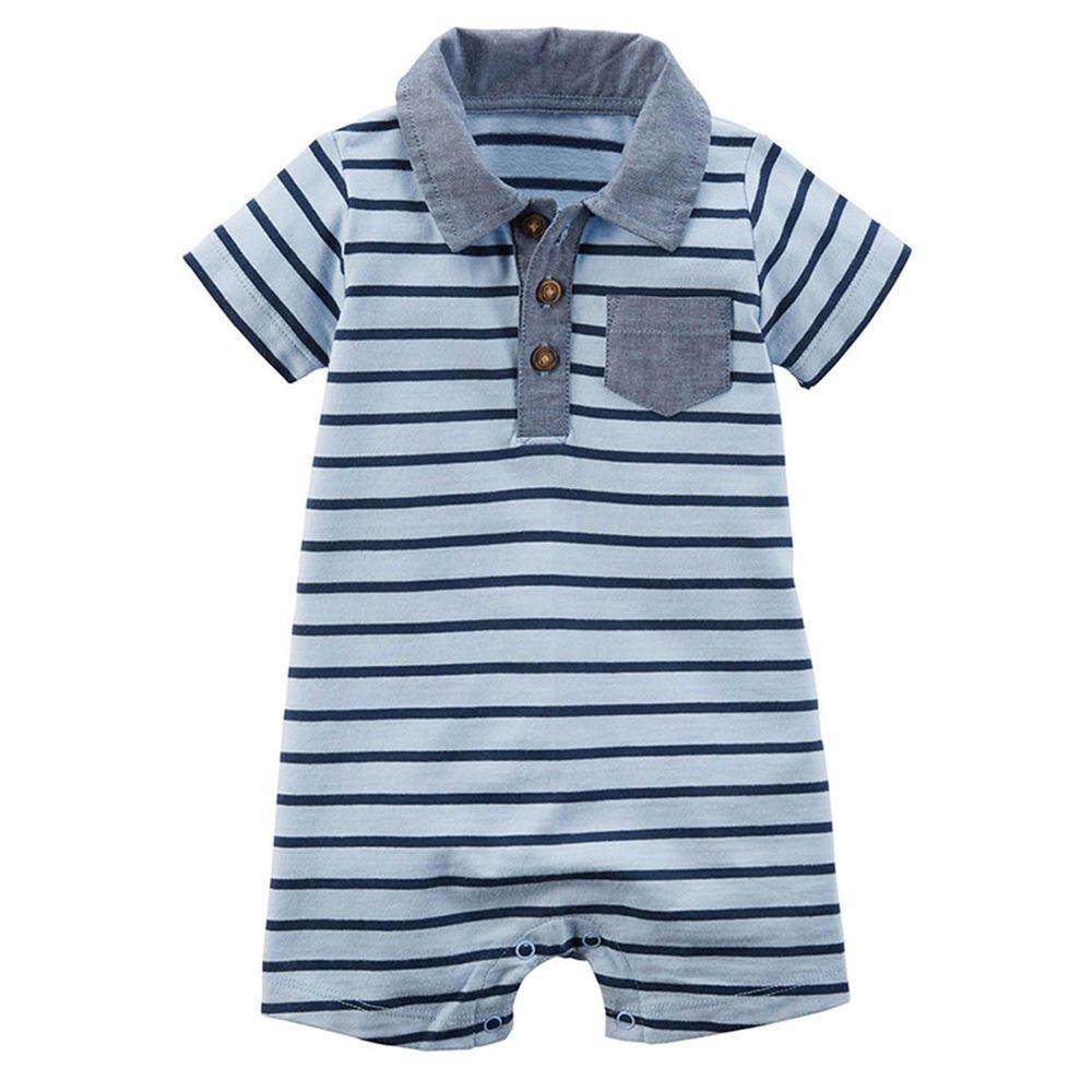 美國 Carter's - 嬰幼兒短袖連身衣-水藍條紋