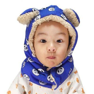日本製動物耳朵純手工圍脖帽-淘氣熊貓-藍