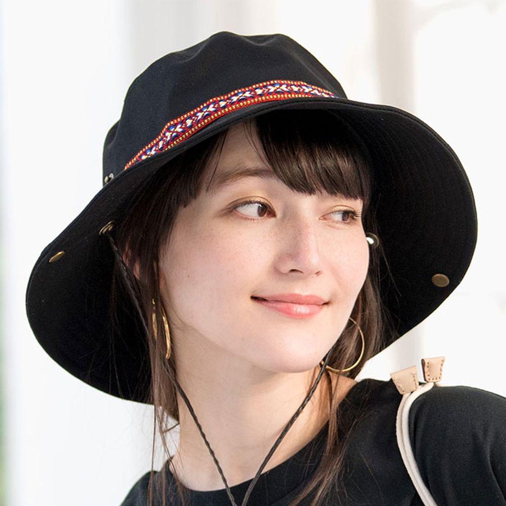日本服飾代購 - 抗UV民族風圖騰撞色遮陽帽(附防風帽帶)-黑