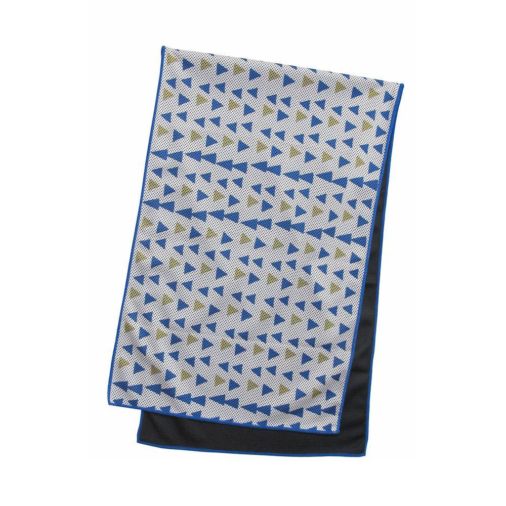 日本 DAIKAI - 吸水速乾UV CUT加工 涼感巾-幾何三角-藍黃 (100x30cm)