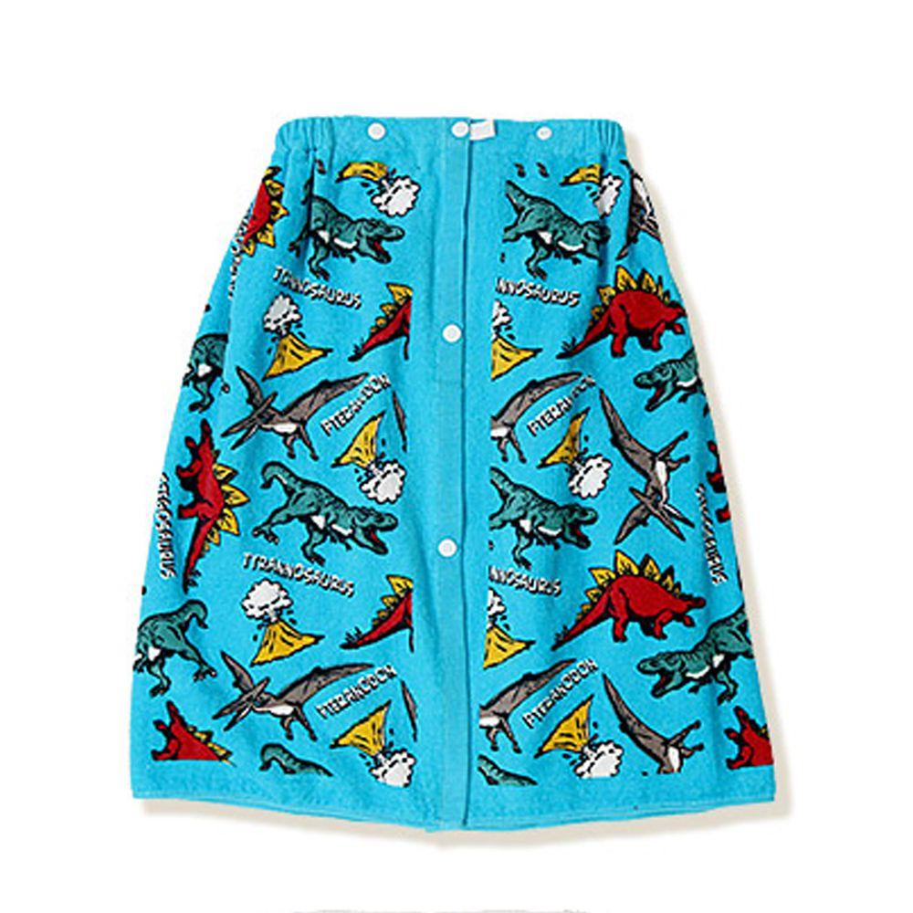 日本 ZOOLAND - 純棉海灘/游泳浴巾/浴袍 (附釦)-H恐龍世界-藍 (長60cm(幼稚園~國小低年級))