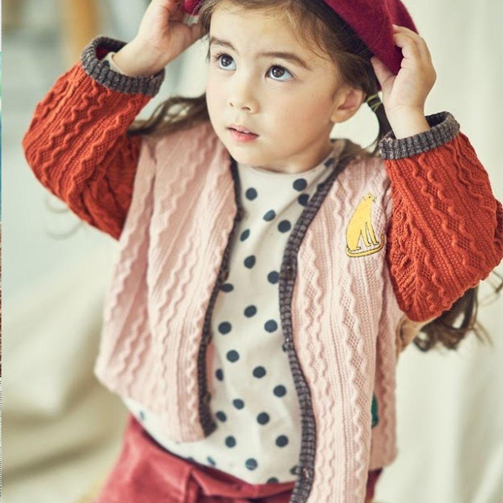 韓國 Mimico - 波紋拼色針織外套-粉紅X紅X粉橘