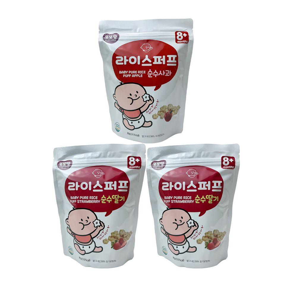 韓爸田園日記 - 星繽樂米星星-綜合3入(草莓優格*2/蘋果優格*1)-1包/30公克