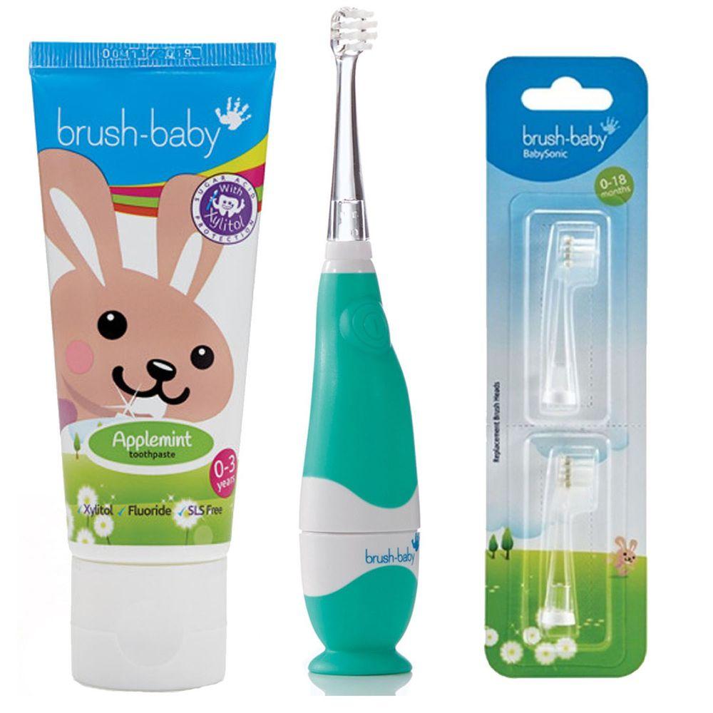 英國 brush-baby - 嬰幼兒聲波電動牙刷+貝寶兔木糖醇牙膏(50ml)+替換刷頭2入(0-18M)