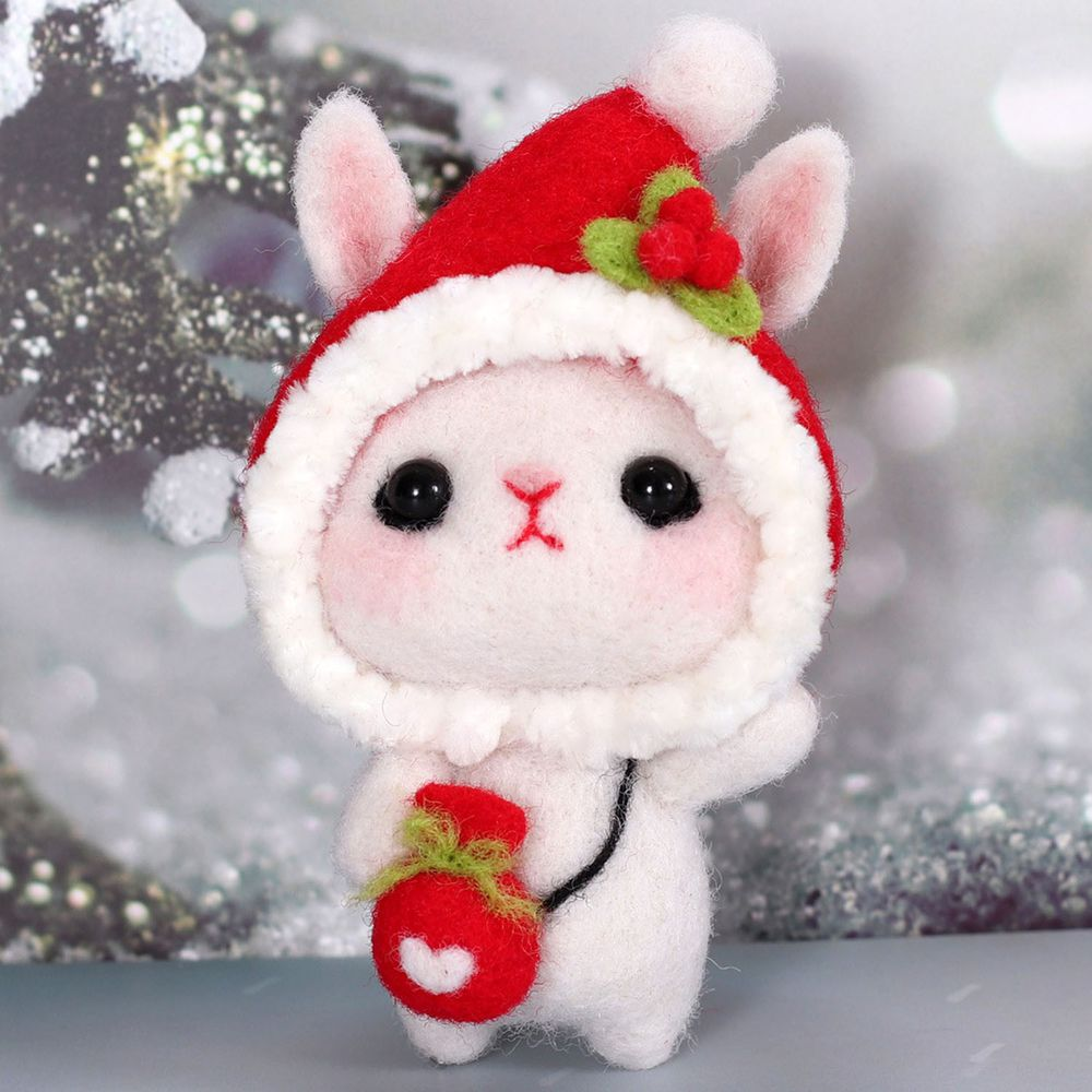 Diy療癒兔子羊毛氈戳戳樂材料包-聖誕帽兔兔