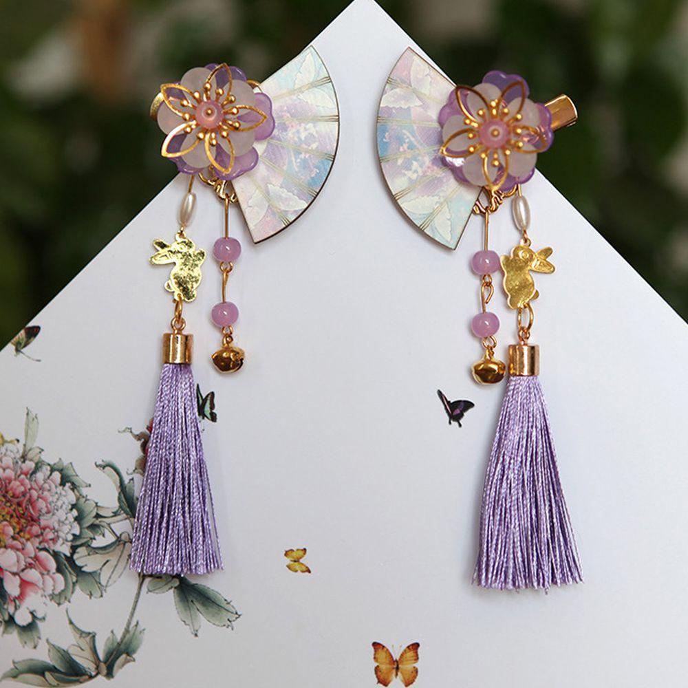 玉兔花扇流蘇髮夾-一對-紫色
