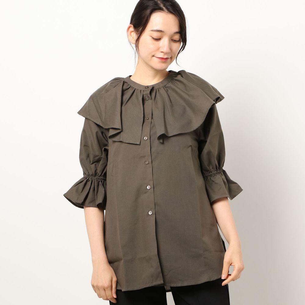 日本 Riche Glamour - 浪漫大荷葉五分袖襯衫-深咖啡