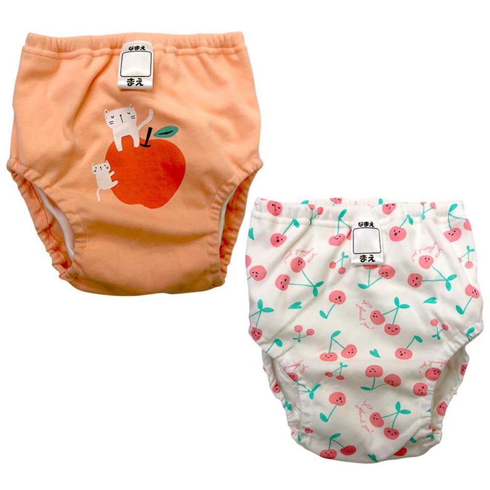 akachan honpo - 4層學習褲2件組-蘋果/櫻桃-粉紅色