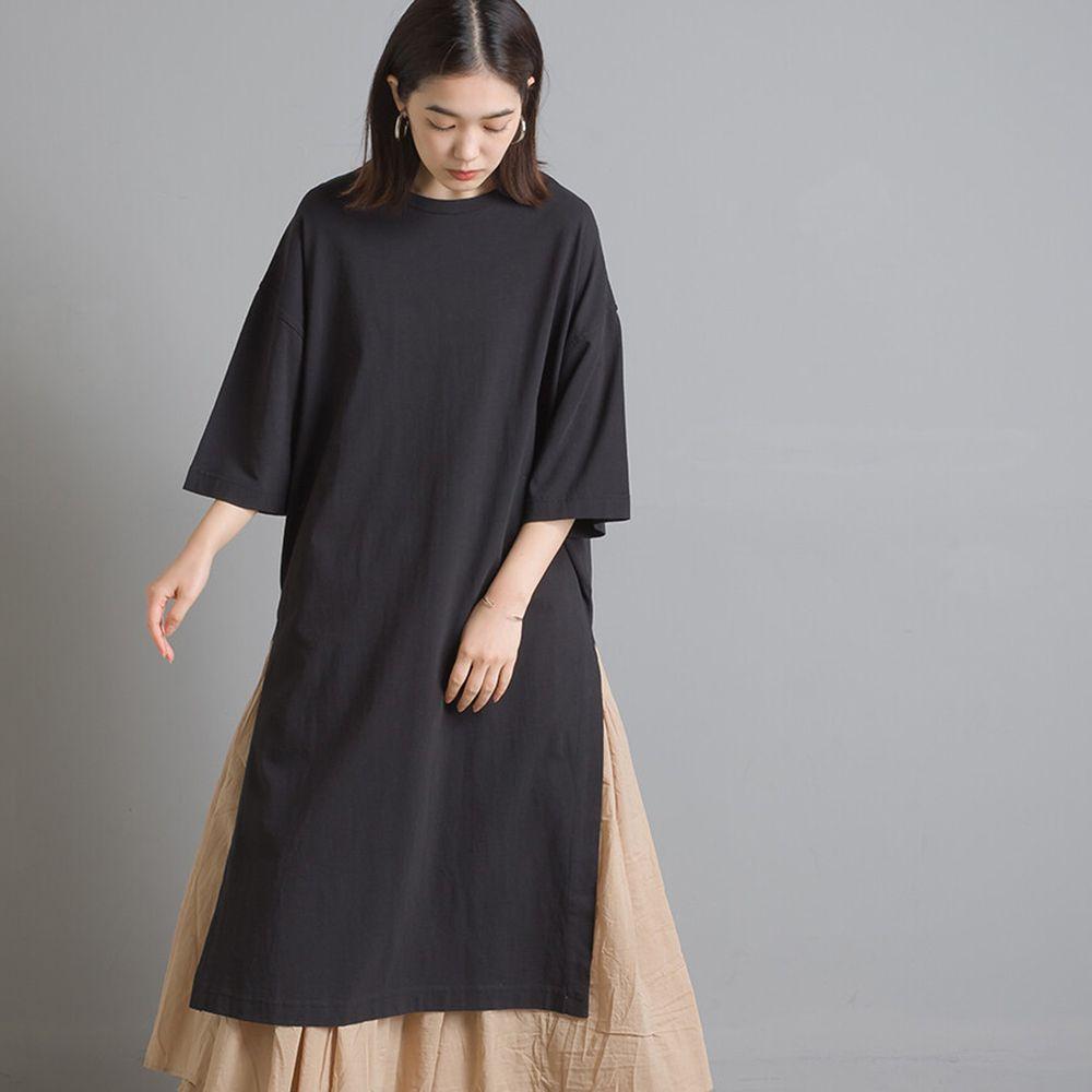 日本 OMNES - 設計感側開衩純棉短袖洋裝-黑 (Free size)