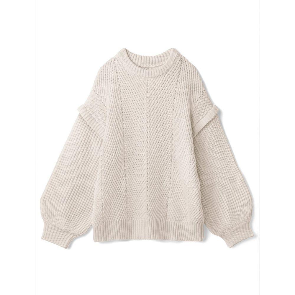 日本 GRL - 交錯羅紋拼接針織毛衣-天使白