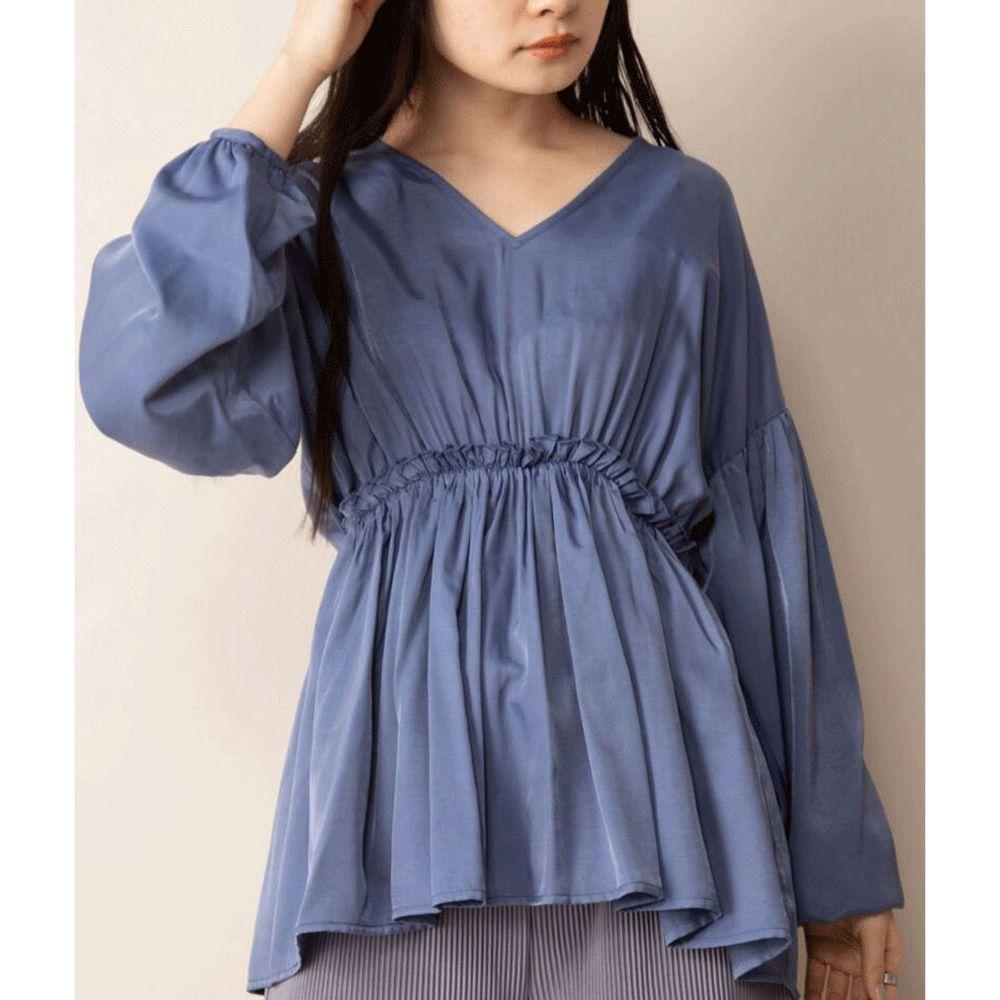 日本 Bou Jeloud - 光澤感美背優雅V領縮腰長袖上衣-藍