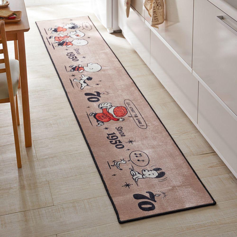 日本千趣會 - 史努比70週年限定款 長條型腳踏墊(廚房/臥室)-咖啡色