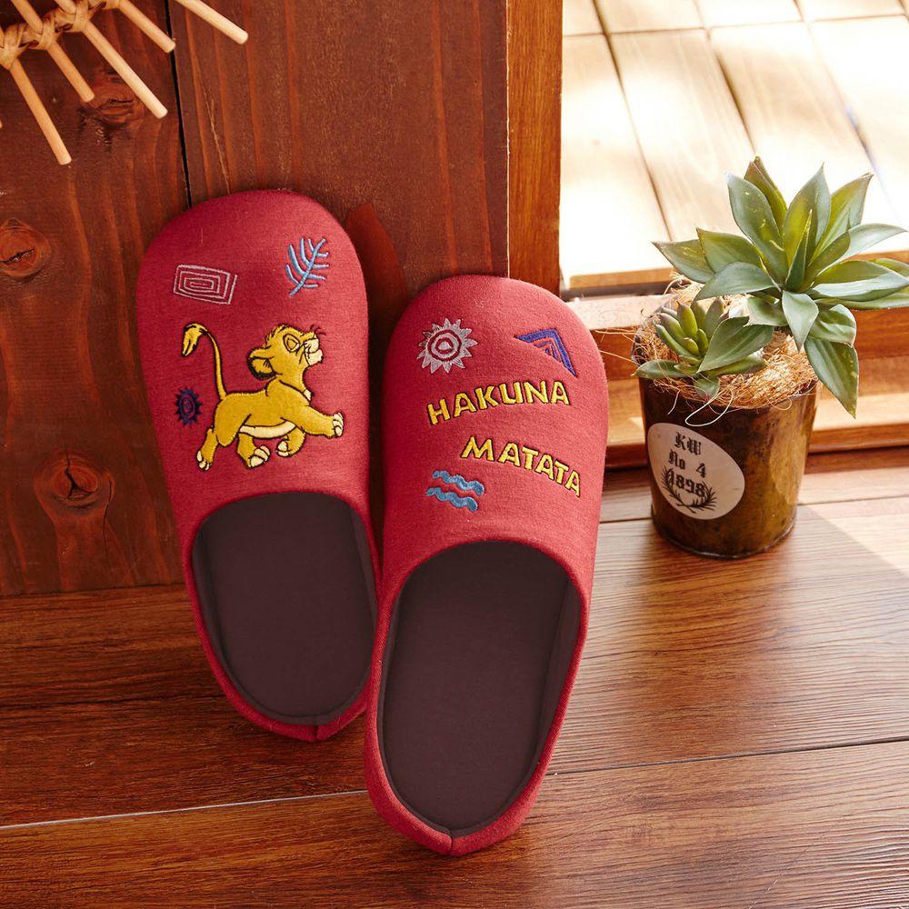 日本千趣會 - 迪士尼室內拖鞋(低反發)-獅子王-酒紅