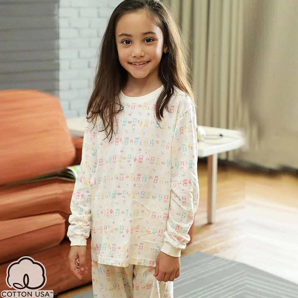 Annypepe - 女童純棉動物小伙伴長袖居家服-米 (120-150cm)
