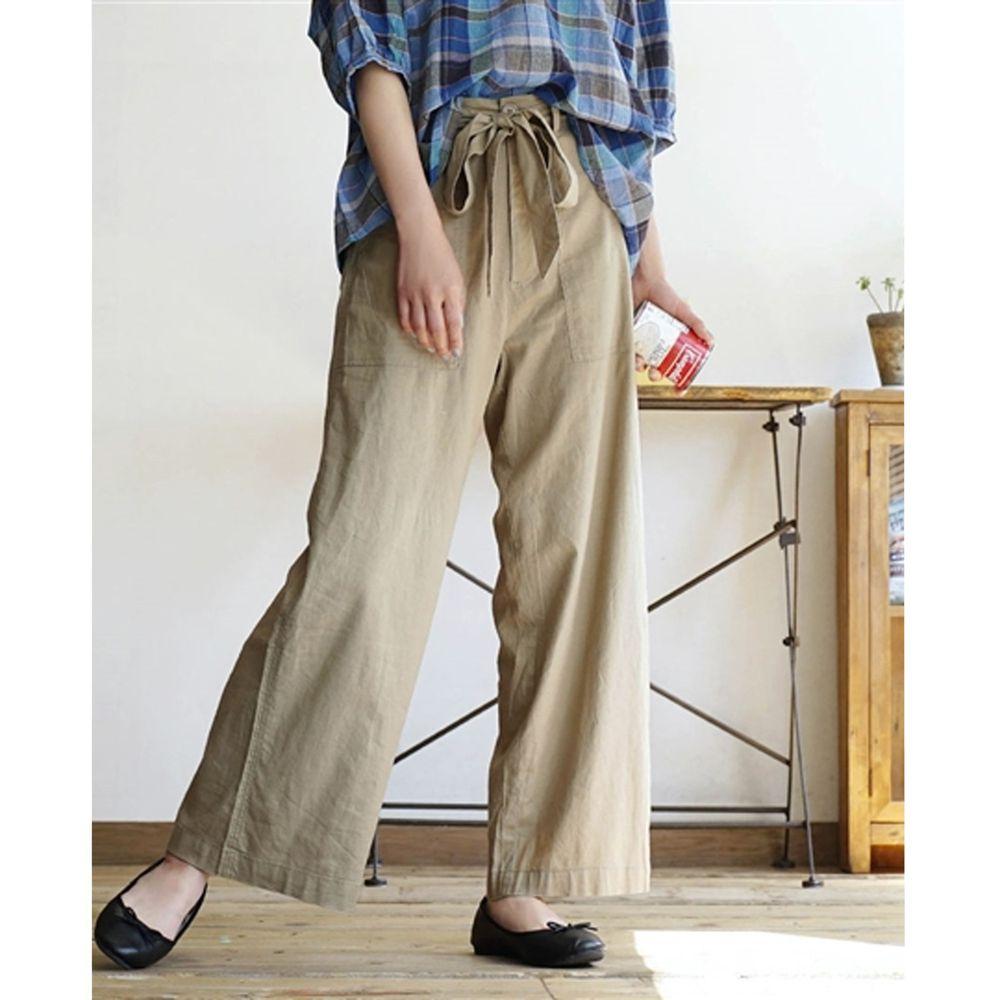 日本 zootie - 麻料舒適綁帶寬褲-沙杏