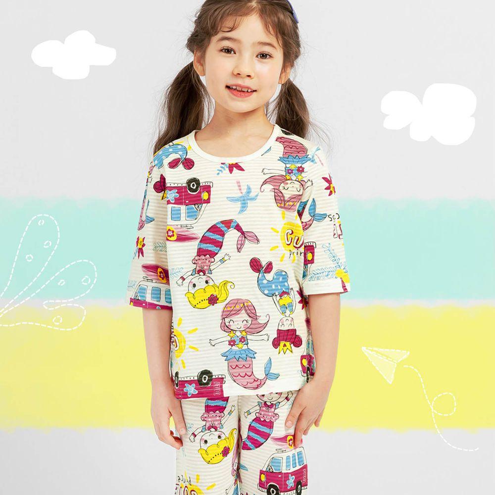 韓國 Mellisse - 韓製透氣輕薄7分袖家居服(無螢光棉)-跳舞美人魚
