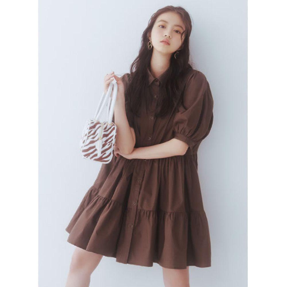 日本 GRL - 明星聯名款 蛋糕澎澎五分袖襯衫洋裝-摩卡棕