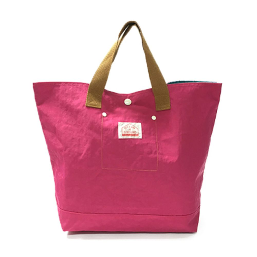日本 OCEAN&GROUND - 經典休閒大容量手提袋-GOODAY 純色-桃粉 PK (33x31x12cm)