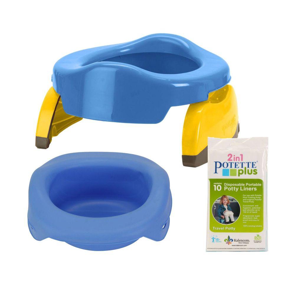 美國 Potette Plus - 可攜式馬桶-藍色+摺疊式家用防漏盆-藍色+拋棄式防漏袋10入裝)