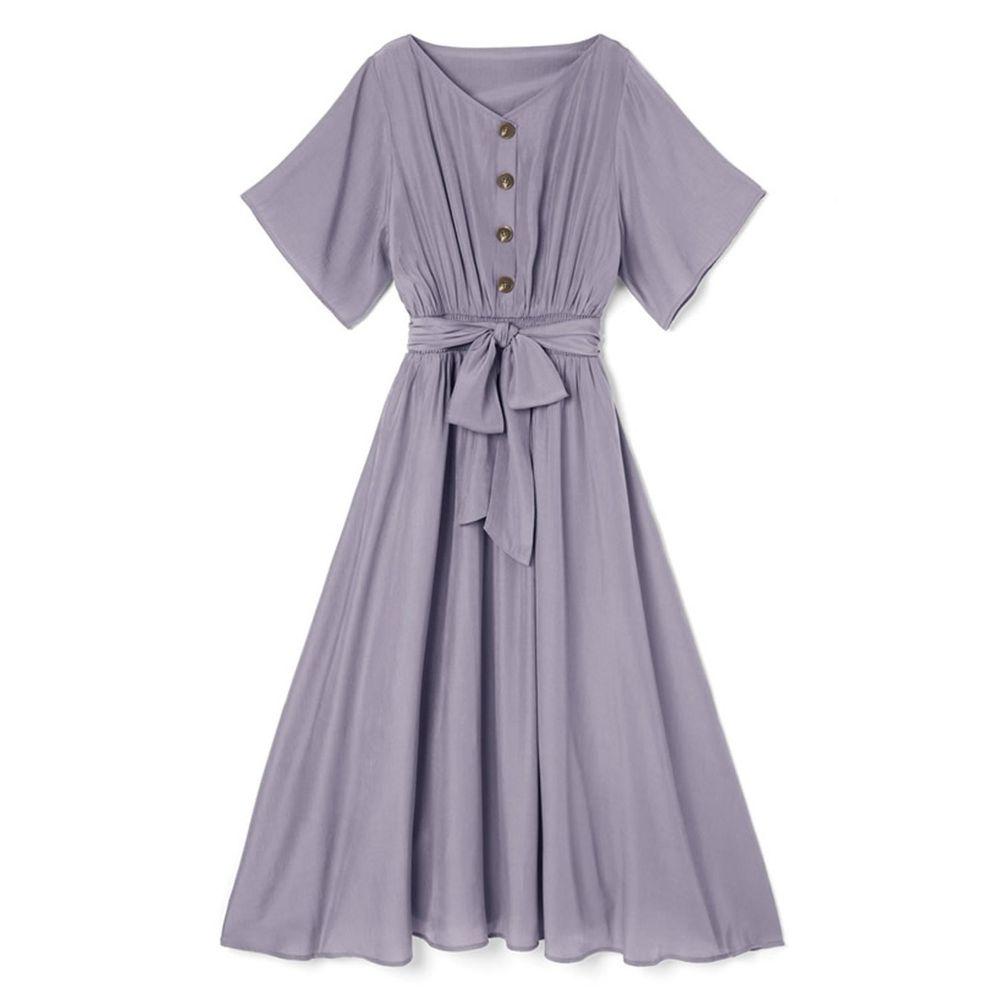 日本 GRL - 浪漫垂墜風排釦大綁帶五分袖洋裝-星塵藍