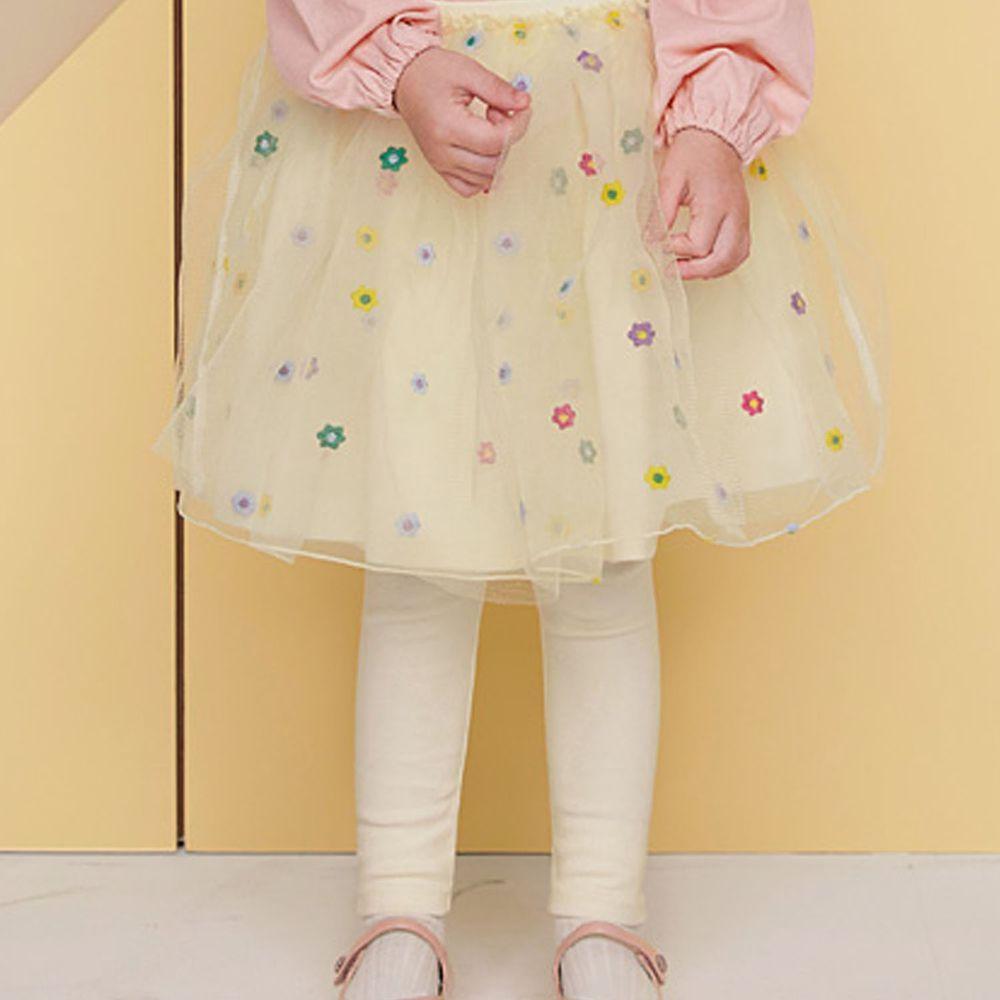 韓國 WALTON kids - 彩色花花點綴網紗褲裙