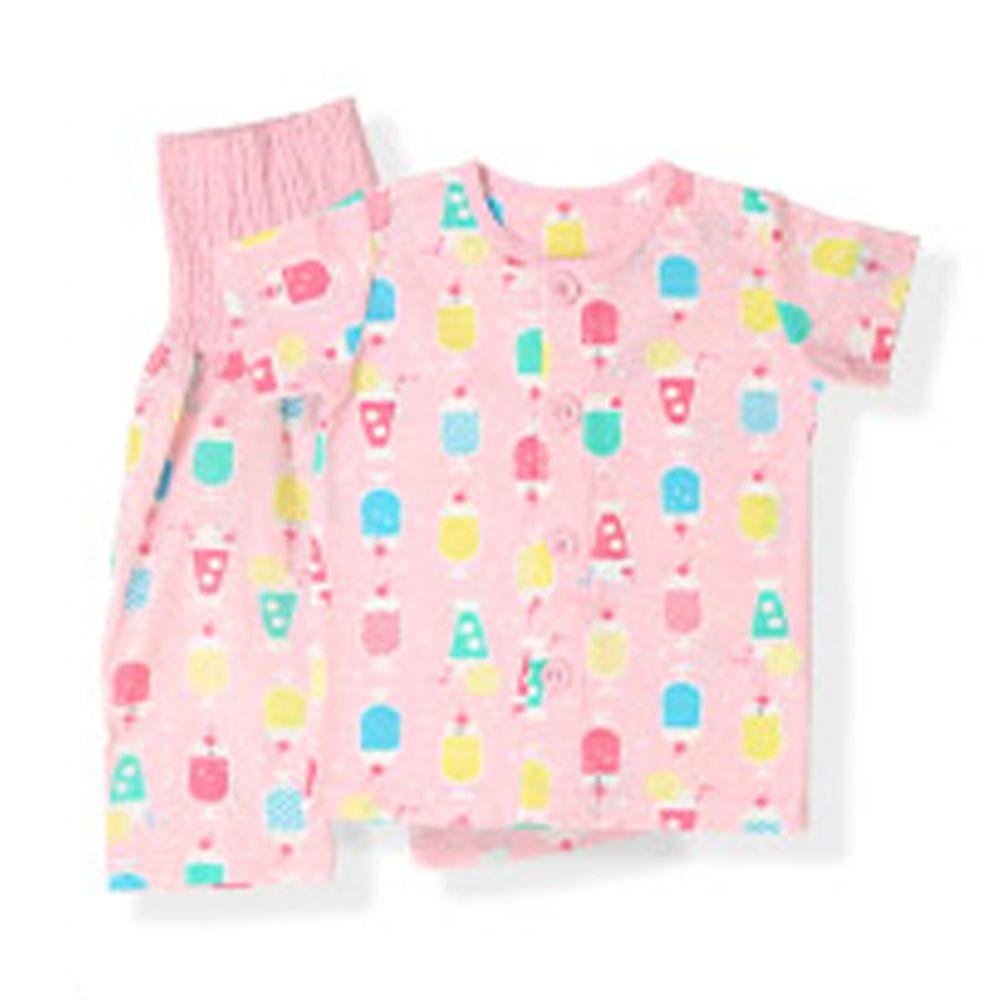 日本 ZOOLAND - 涼感 100%棉腹卷家居服(短袖+七分褲)-清涼冰品-粉