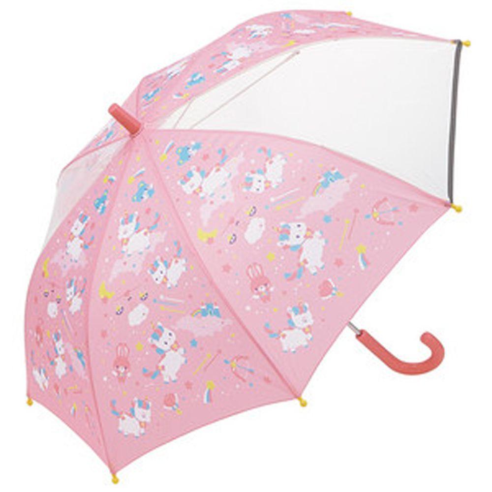 日本 SKATER 代購 - 兒童雙片透明直傘(附安全反光貼條)-粉嫩獨角獸 (50cm(身高:115-125cm))