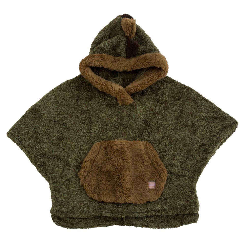 日本 BISQUE - 動物造型連帽超柔軟保暖斗篷-恐龍-墨綠 (3-5y)