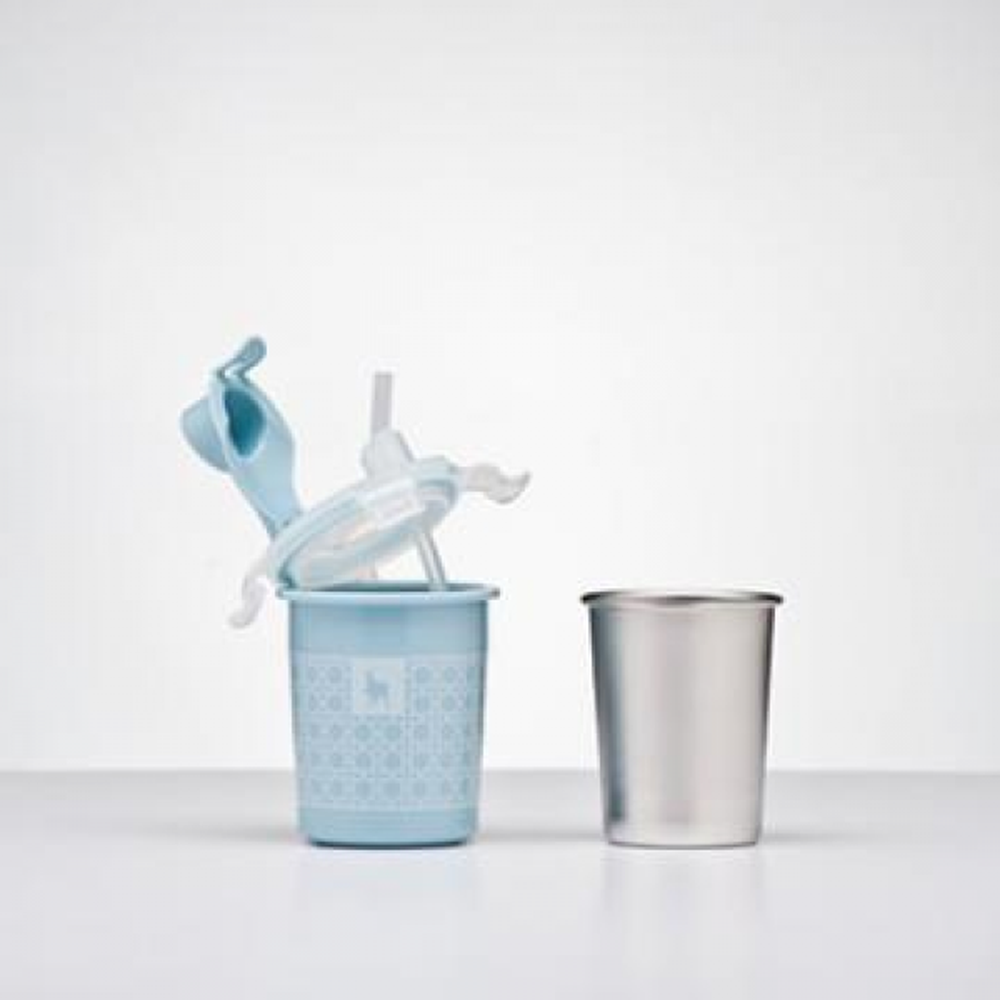 美國 Kangovou - 不鏽鋼安全兒童餐具-兩用杯-野莓藍 (8*8*13(長*寬*高))