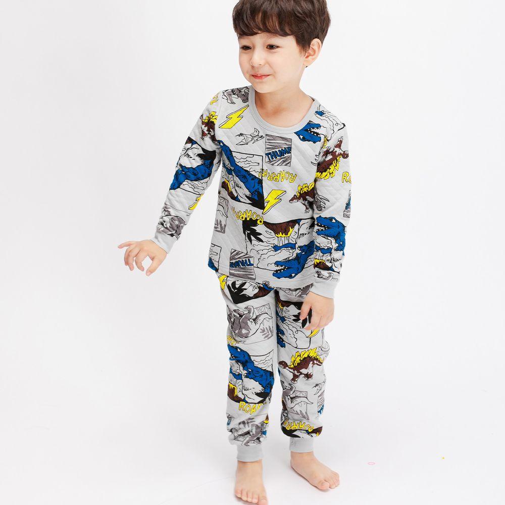 韓國 Mellisse - 韓製鋪棉保暖無螢光棉長袖家居服-恐龍世界