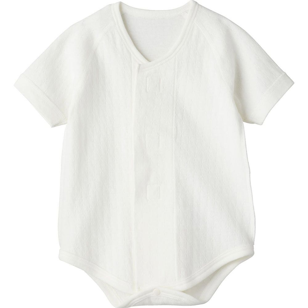 日本 Combi - mini系列-純棉保暖包屁衣(黏貼式,7分袖)-白色 (60-70)