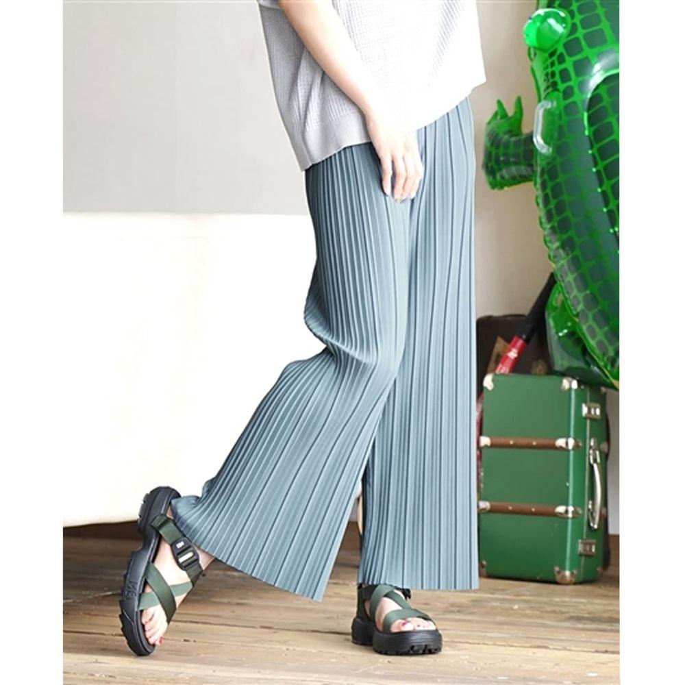日本 zootie - 繽紛顯瘦百褶風琴寬褲-灰藍 (M)