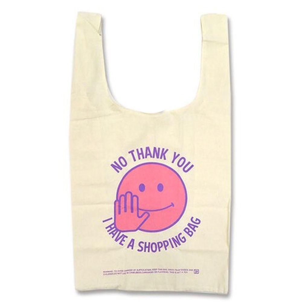 日本 OKUTANI - 折疊購物袋(純棉)-不了謝謝我有購物袋-米X粉 (32x60x16cm)