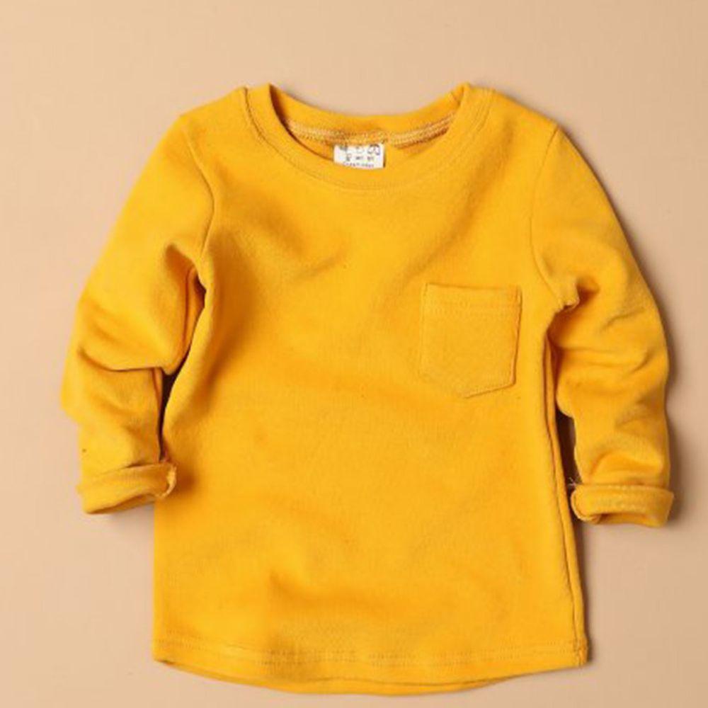 韓國製 - 桃皮絨圓領口袋T-黃