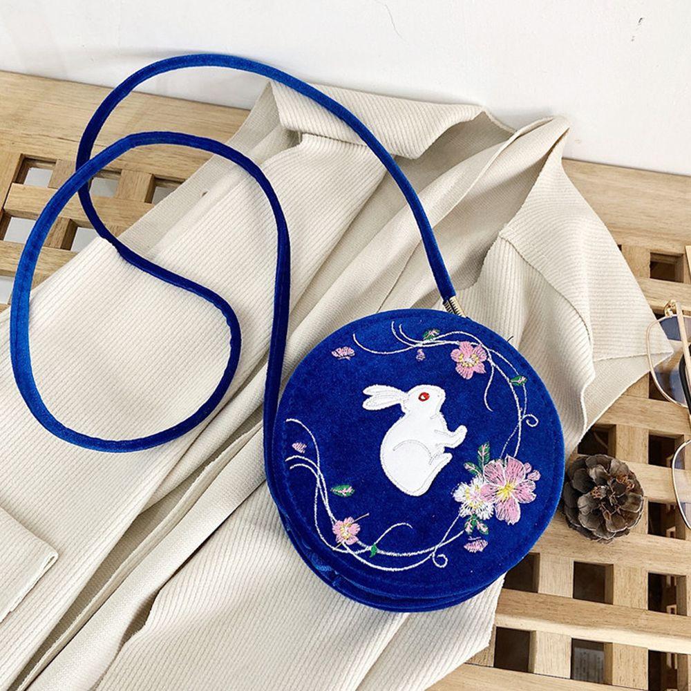 玉兔繁櫻絲絨小圓包-寶藍