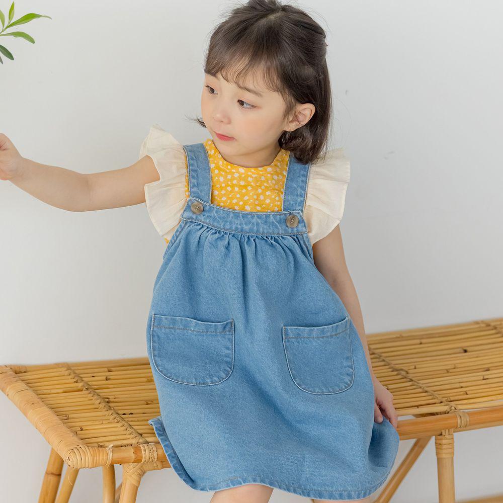韓國 Orange Mom - 雙口袋丹寧吊帶裙