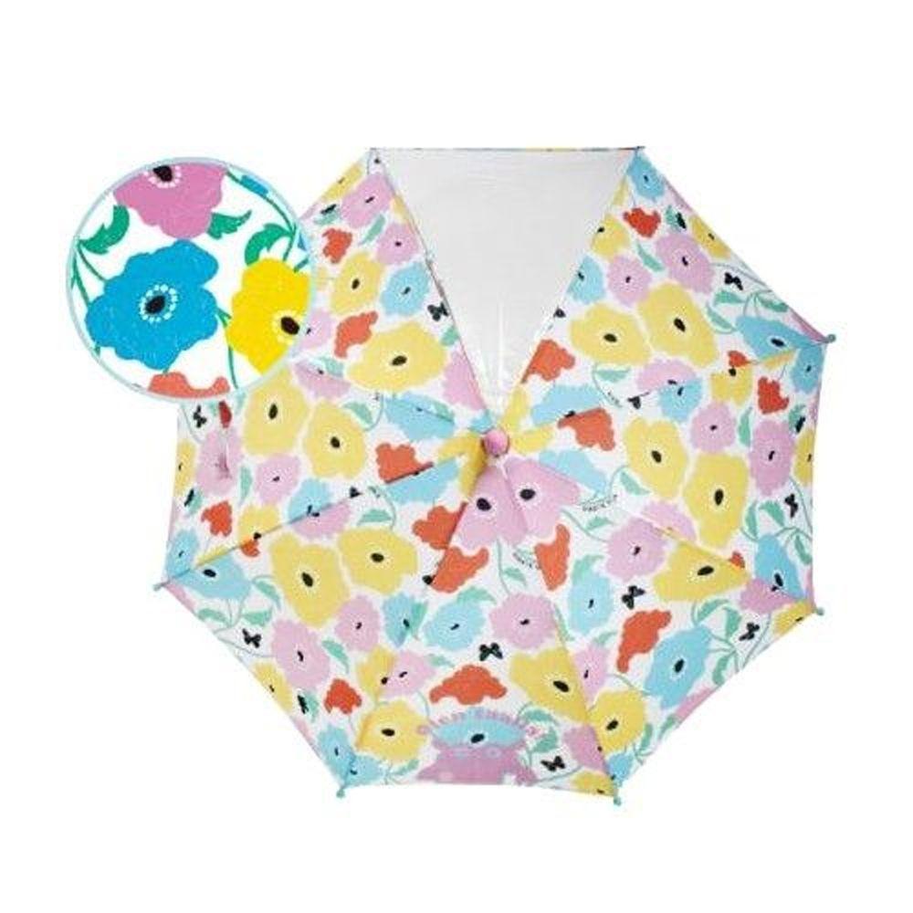 日本 kukka hippo - 小童單片透明直傘-繽紛花園