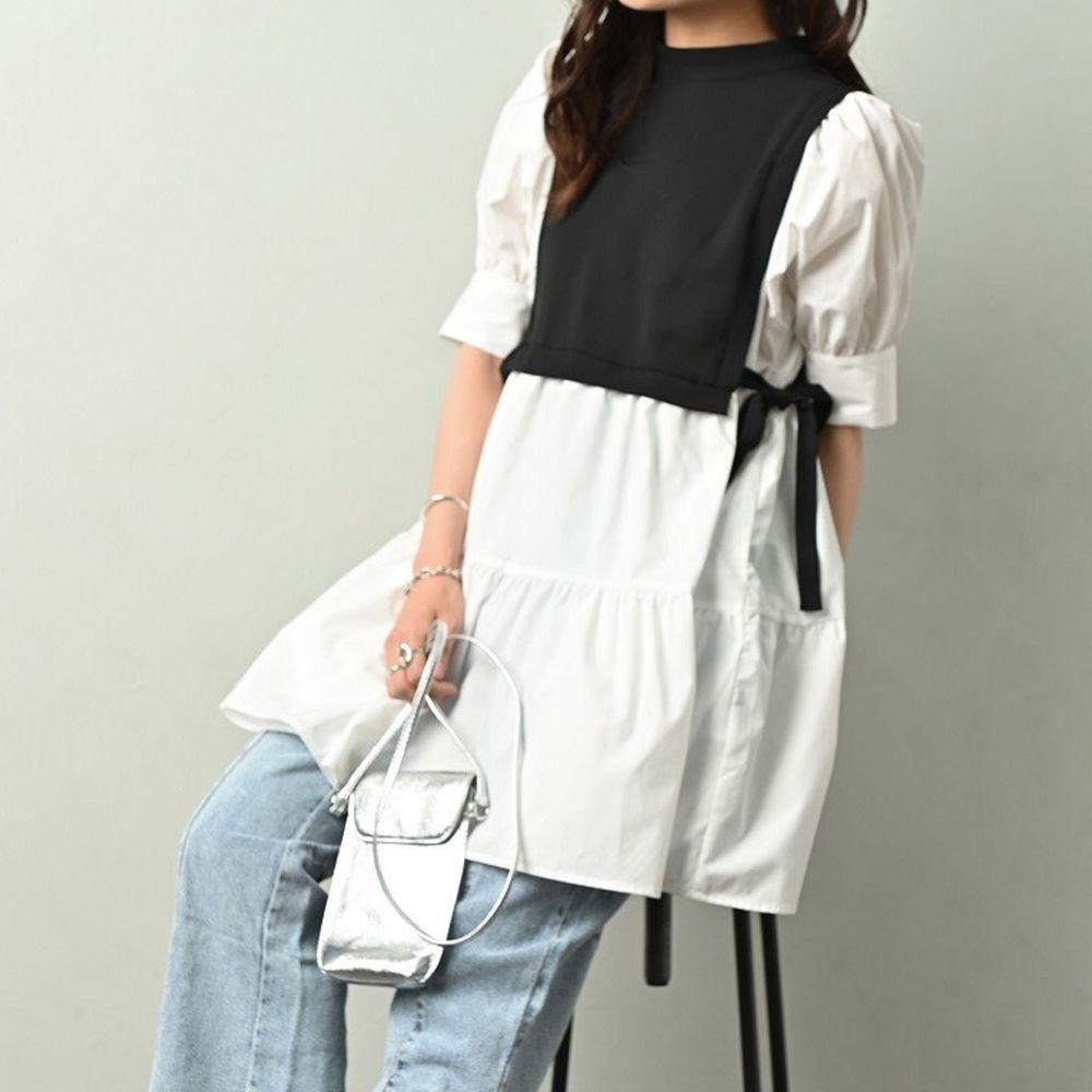 日本 ELENCARE DUE - 假兩件綁帶背心五分袖長版蛋糕上衣-黑