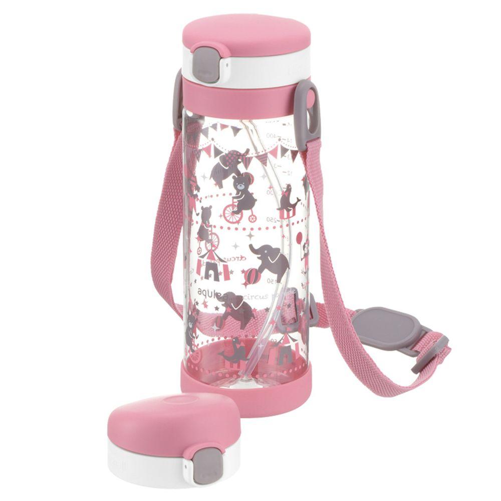 日本 Richell 利其爾 - 粉紅派對兩用冷水壺組-動物馬戲團圖案-粉-450ml