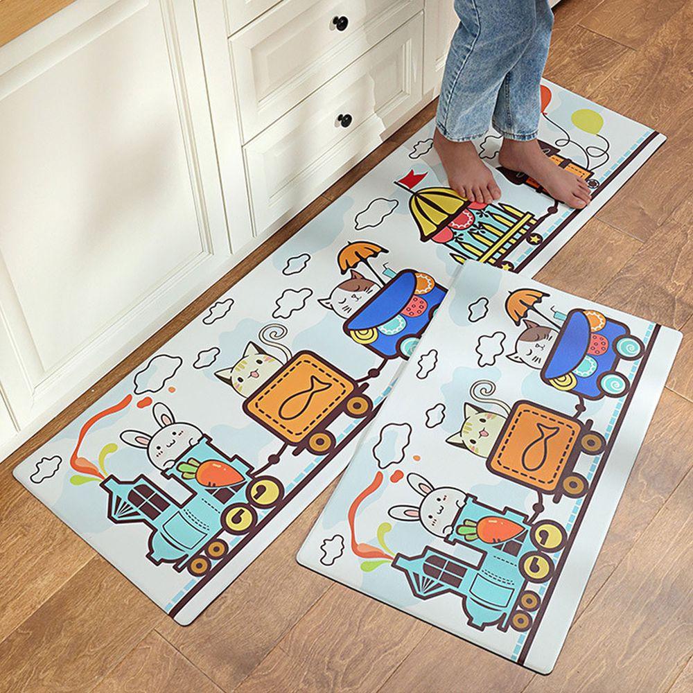 廚房仿皮革PVC防水腳踏墊-貓咪列車