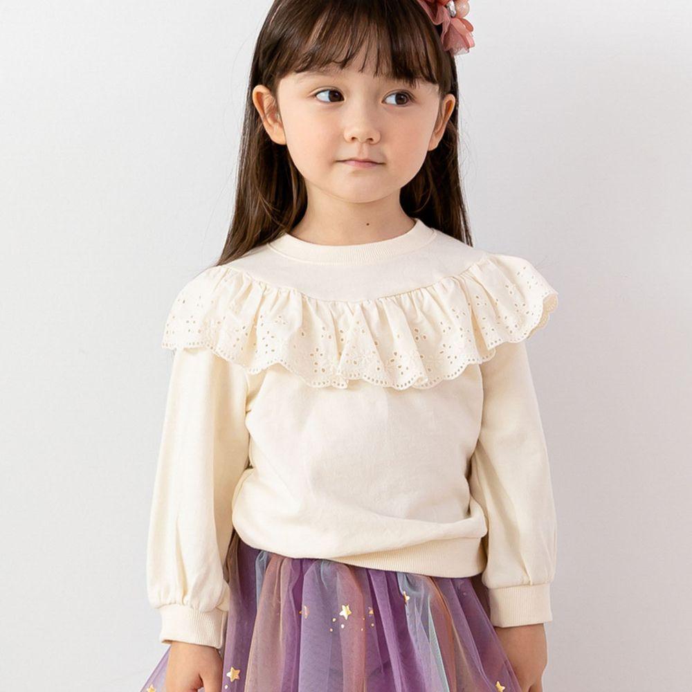 韓國 ERU - 蕾絲裝飾條紋T-象牙白